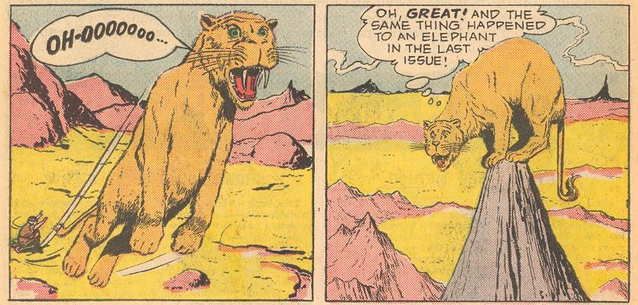 The next issue, a saber tooth tiger gets the same treatment and refers to the previous issue