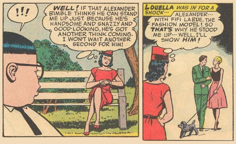 Louella is shocked to see Alexander Bimble with Fifi LaRue.