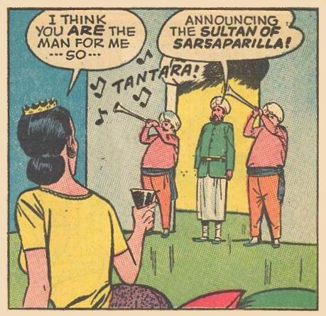 Herbie arrives disguised as the Sultan of Sarsparilla.