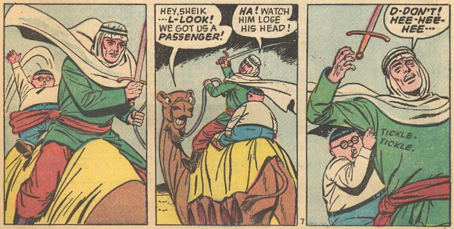 Tickling : There is only one example of Herbie tickling, in the next to last story in the series, but it's a great gag attack.