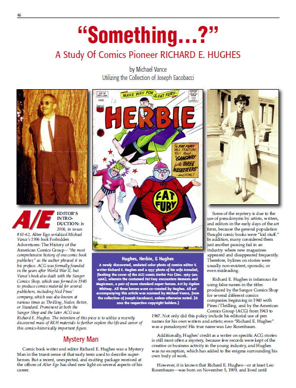 """Something...?"" A Study of Comics Pioneer Richard E."