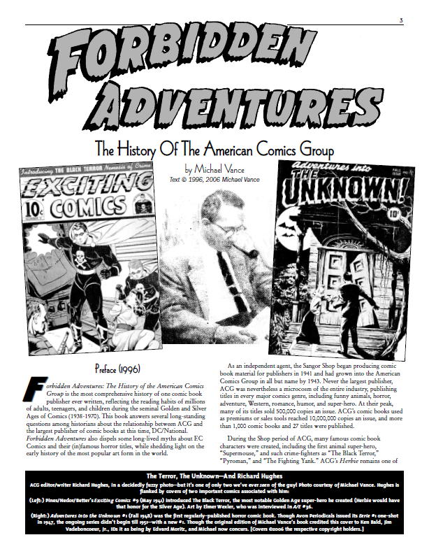 """Forbidden Adventures: The History of the American Comics Group,"" by Michael Vance."