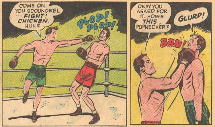 In #15a , Dad gets into the boxing ring PLOP!