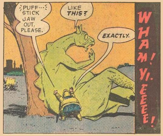 Herbie's final punch is preceded by a request to the dragon to stick out his jaw, then WHAM!
