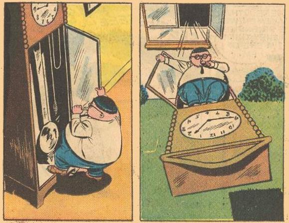 What does Herbie use a grandfather clock for?