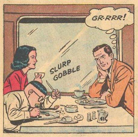 Dad watches Herbie eating vigorously.