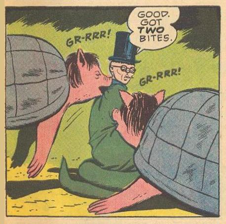 Pigturtles attack who they think is an enemy Hissian, but is actually Herbie in diguise .