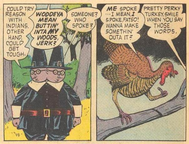 Apparently two-headed Herbie is swinging his head around to find perky turkey .