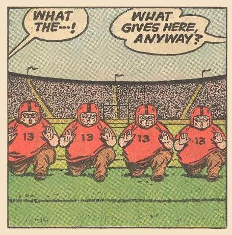 Football players astonished by all those Herbies