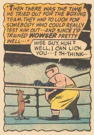 Dad, in his fat youth, boxing with Wowser, the dog.