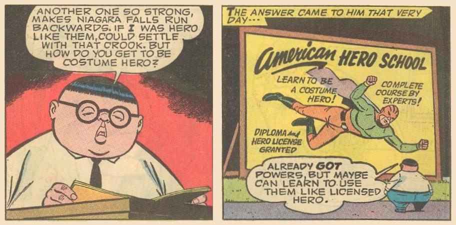 Herbie decides to become a costume hero and decides to go to school to learn to use his powers like a licensed hero...