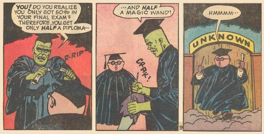 Herbie scores only 50% on his magic final exam, so he receives half a diploma and half a wand.
