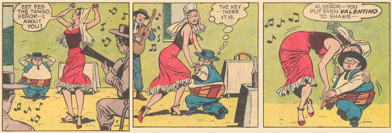 ...but in the same comic issue, he is fatter and shorter, and a great dancer.