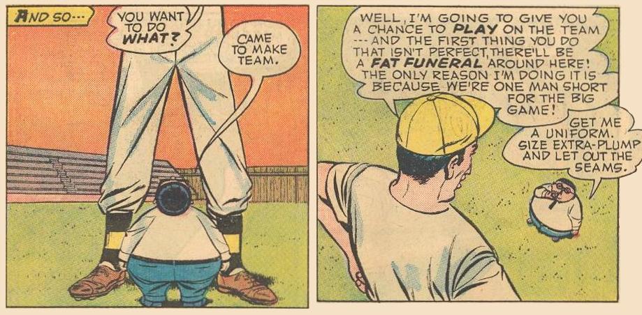 Herbie, next to Peepwhistle Prep's baseball coach.