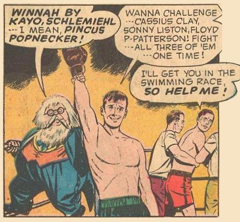 Herbie, in one of his disguises , must stand on the boxing ring's rope to raise his Dad's arm in victory.