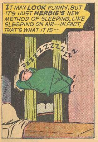 Sleeping in the air at the start of the story...