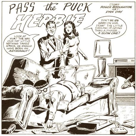 """""""Pass the Puck Herbie"""" begins with Herbie in a familiar position..."""