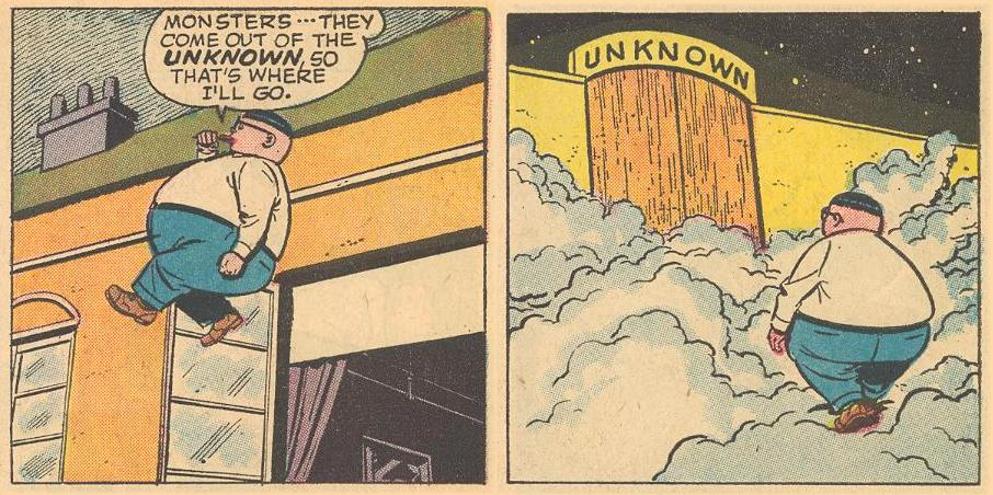 In #3a , Herbie walks up to the Unknown , but is it in space?
