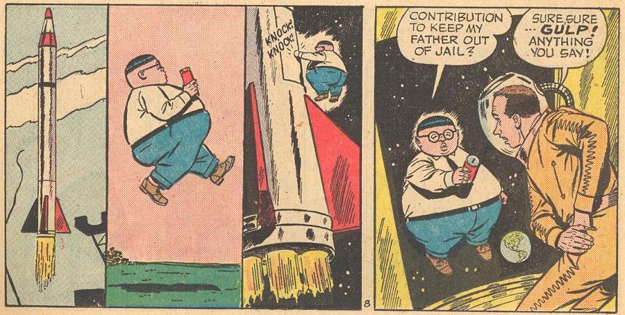 In #3b , Herbie goes door-to-door to collect money for his Dad.