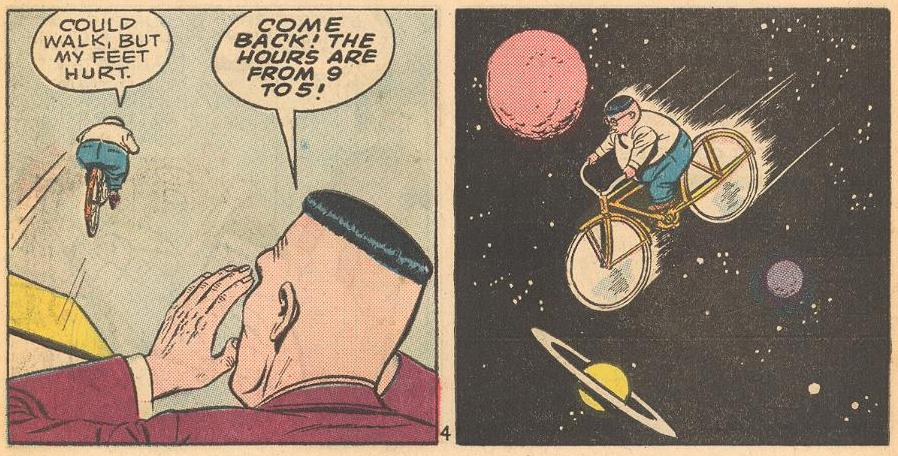 In #6b , Herbie rides a bike - into space...