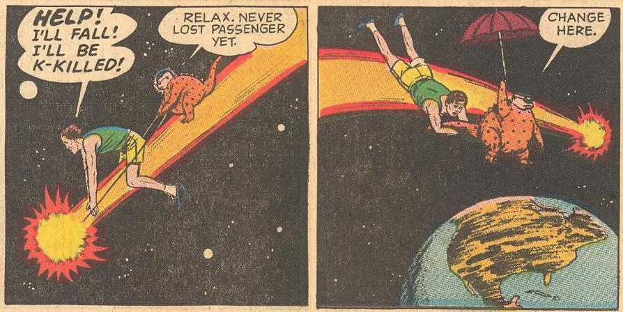 In #15a , Herbie (in disguise ) helps Dad get home by comet .
