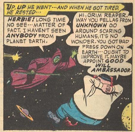 In #20a , Herbie chats in space with the Grim Reaper.