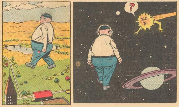In Forbidden Worlds #110 , Herbie is out for a walk and ends up in space.