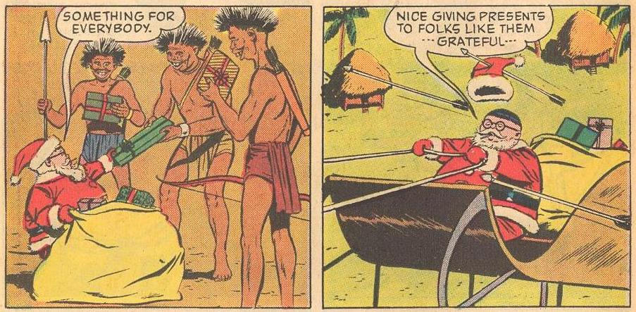Herbie gives gifts to buck-toothed indigenous people and speaks kindly of them, oblivious to the fact that they are shooting arrows at him as he leaves.