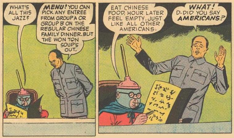 A parody of Chinese menus (popular in the 1960s) and a tired old joke (maybe new, then) on being hungry an hour after eating Chinese food.