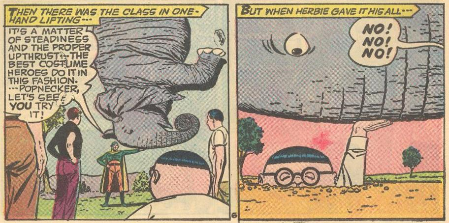 In #8a , at superhero school, Herbie has the power, but not the style...