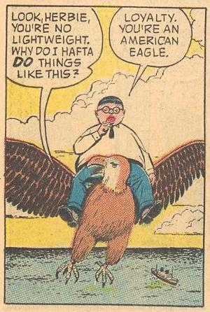 In #1a , Herbie rides a loyal eagle.