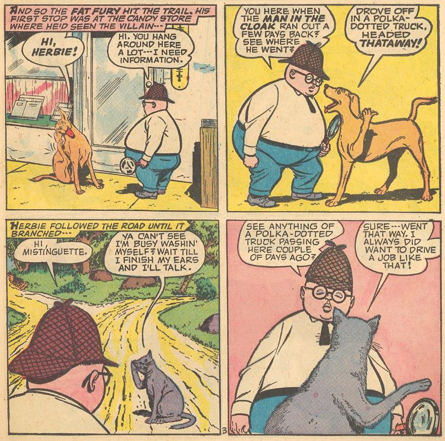 In #2a , Herbie gathers information from a dog, a cat, ...