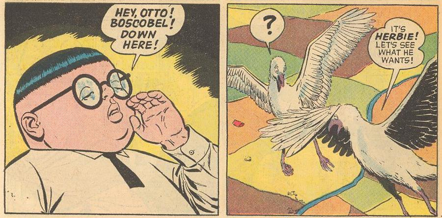 Later in #2a , Herbie calls over some friends, Otto and Boscobel.