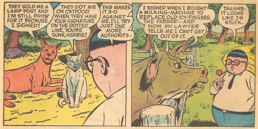 In Forbidden Worlds #116 , Herbie asks animals for advice on contract law.
