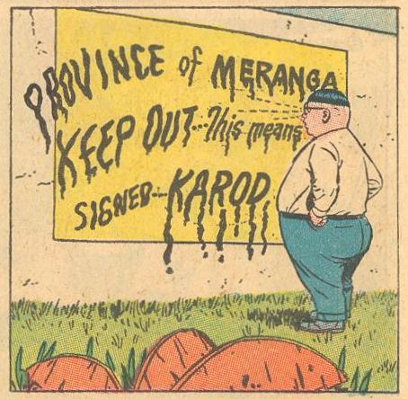 In Forbidden Worlds #114 , Herbie's gaze melts letters on a sign.