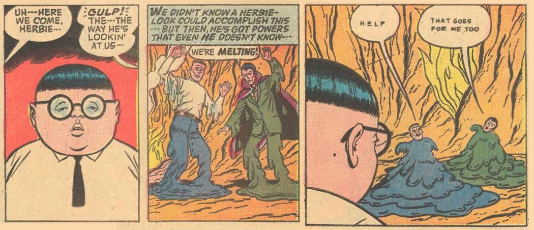 In Forbidden Worlds #116 , Frankenstein [sic] and Dracula are melted by the way Herbie's lookin' at 'em.