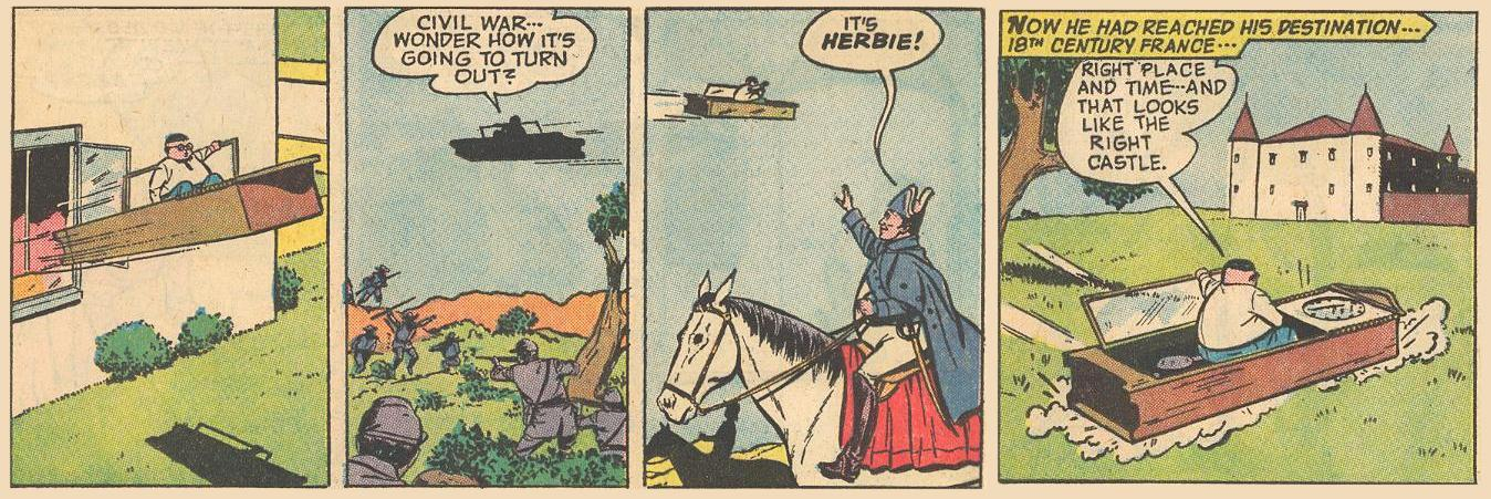 Herbie travels back to Napoleonic time, and on his way, he comments on the passing events.