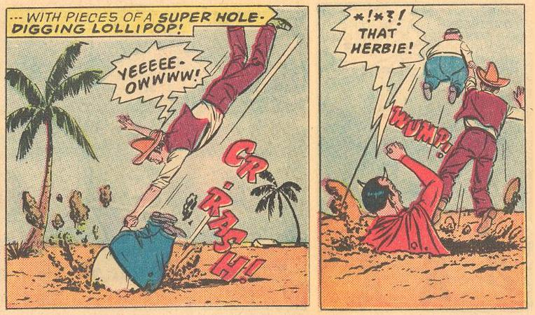 In Herbie #1b , Herbie is just passing through the earth , but is not welcomed by the Devil.