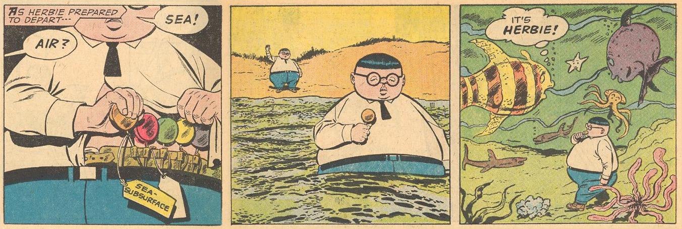 "Sent off by his look-alike grandfather, Herbie uses a ""sea-subsurface"" lollipop to walk underwater."