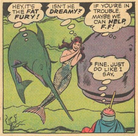 In #16a , Herbie - I mean Fat Fury - gets the help of underwater friends.