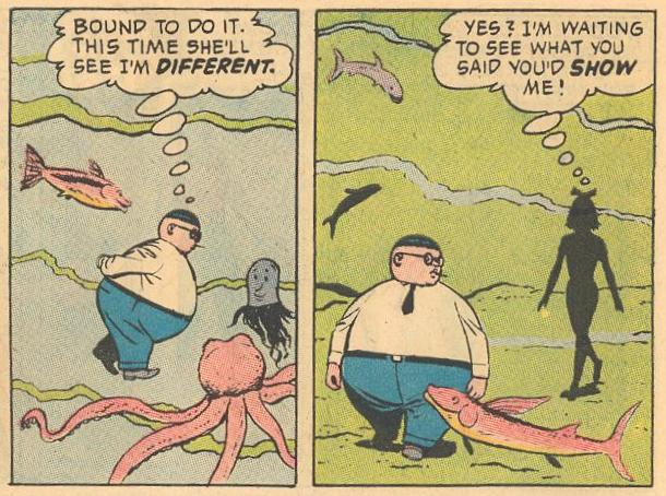 In #16b , Herbie takes a walk underwater, but Hepzibah Higgins thinks nothing of it.