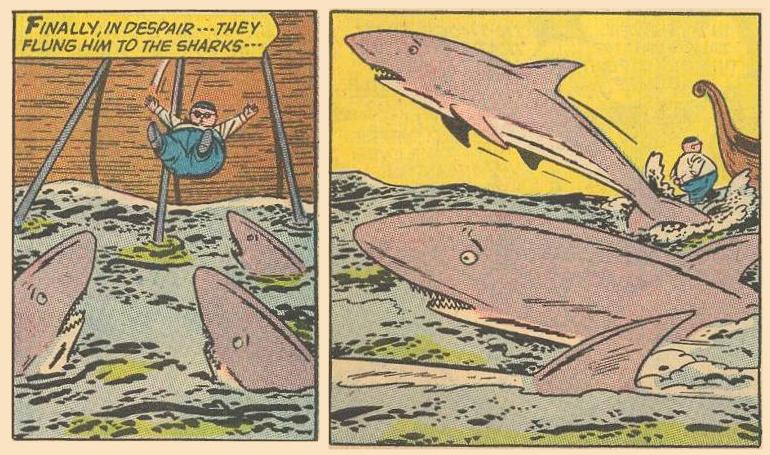 Herbie falls into the water but just walks away as the sharks get as far away from Herbie as they can.