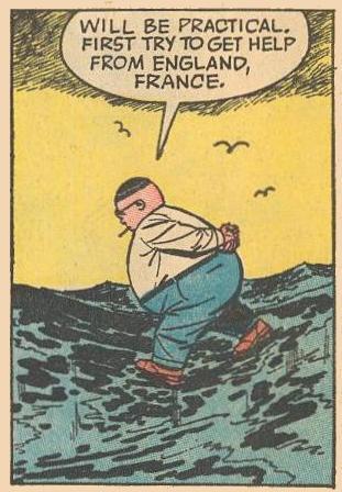 Herbie, walking on water, hands behind his back.