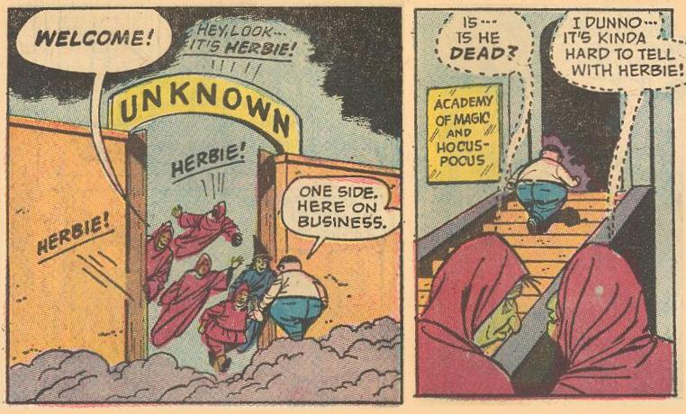 In #22a , Herbie gets a warm welcome to the Unknown, but he's there on business (to learn magic).
