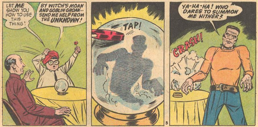 In Forbidden Worlds #110 , Herbie summons Frankenstein from the UNKNOWN.