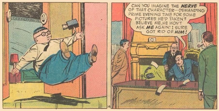 Herbie gets kicked out of a television executive's office.