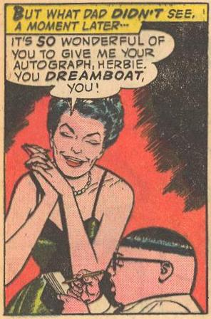 "Eva Gardner asks for an autograph from ""dreamboat"" Herbie"